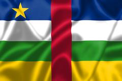 central african republic flag blowing in the wind - stock illustration