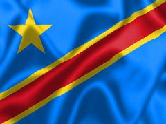 Democratic republic of the congo flag blowing in the wind Stock Illustration
