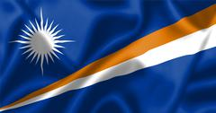 marshall islands flag blowing in the wind - stock illustration