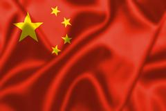 peoples republic of china flag blowing in the wind - stock illustration