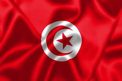 Tunisia flag blowing in the wind Stock Illustration