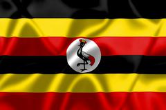 uganda flag blowing in the wind - stock illustration