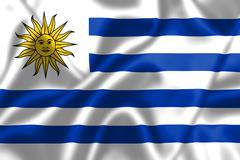 Uruguay flag blowing in the wind Stock Illustration