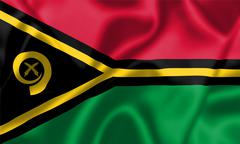 vanuatu flag blowing in the wind - stock illustration