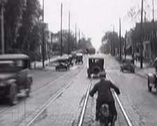 1917 - New Fast Bike On Road 01 Stock Footage