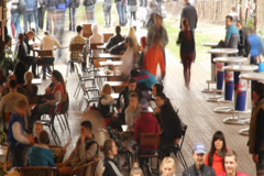 Public place cafe tables timelapse, eating people, drinking men, click for HD Stock Footage