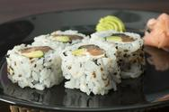 Stock Photo of close up sushi in plate