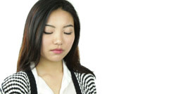 Asian girl isolated on white worried Stock Footage
