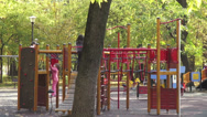 Stock Video Footage of Children's playground, happy kids, fall season, autumn colors