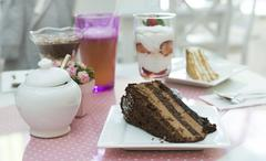 Stock Photo of choco cake and a milkshake in confectionery