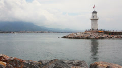 lighthouse in Alanya Turkey - stock footage
