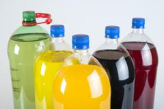 carbonated drinks in plastic bottles - stock photo