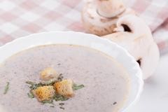 cream soup with agaric - stock photo