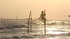 Sri Lanka stilt fisherman catching fish at sunset Stock Footage