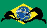 Brazilian football retro style vector art Stock Illustration