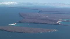 P03009 Galapagos Islands from Air Santa Cruz Baltra Seymour Stock Footage