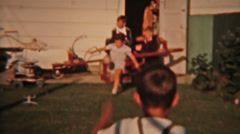 Children teeter totter playing vintage film Circa 1940s 0106 Stock Footage