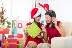 singaporean asian friend lifestyle christmas photo - stock photo