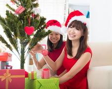 asian friend lifestyle christmas photo - stock photo