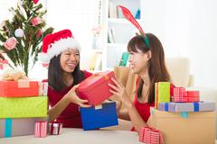 asian friend lifestyle christmas photo - stock photo