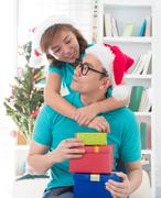 Asian couple life christmas celebration gift sharing Stock Photos