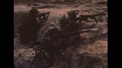 Vietnam War - Attacking Vietcong Village - 02 - stock footage
