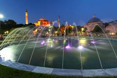 hagia sofia with reflection - isntanbul, turkey - stock photo