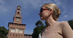Ultra HD 4K Young Casual Business Woman Using Mobilephone Sforzesco Castle Milan Stock Footage