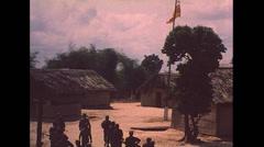 Vietnam War - Soldiers Walking Village - 01 Stock Footage