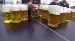 Beer Glasses Stock Footage