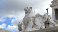 Lion statue at Vittorio Emanuele II monument in Rome Stock Footage