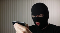 Mask Hacker With Smartphone iPhone Stock Footage
