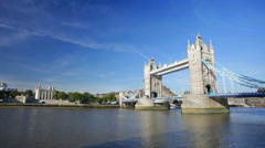 Tower Bridge in London with blue sky - stock footage