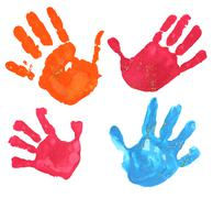 multicolored fingerprints - stock photo