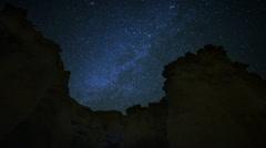 4K Draconids Meteor Shower 12 Dolly L Zoom In Milky Way Timelapse Mojave Desert  Stock Footage