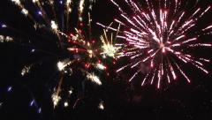 Fireworks on black sky Stock Footage