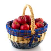wicked cane basket apples - stock photo