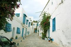 a street in the town of sidi bou said in tunisia - stock photo