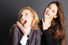 Two girlfriends during the fitting Stock Photos