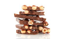 chocolate bar with hazelnuts - stock photo