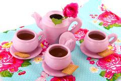pink tea service - stock photo