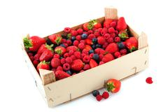 crate with a diversity of fresh fruit - stock photo