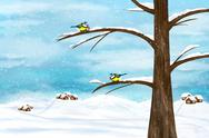 Stock Illustration of chickadee birds in winter