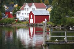 Wooden house at the lofoten archipelago Stock Photos