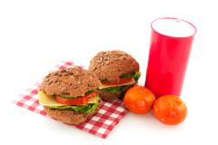healthy red lunchbox - stock photo