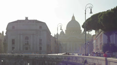 Distant View of Vatican from Ponte Sant Angelo Stock Footage