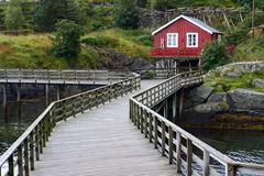 Stock Photo of wooden house at the lofoten archipelago