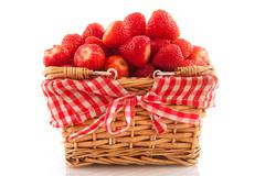 cheerful basket strawberries - stock photo