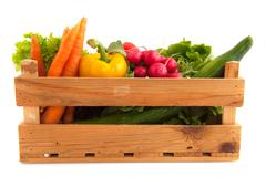 Crate vegetables Stock Photos