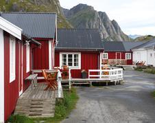 wooden house at the lofoten archipelago - stock photo